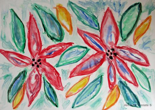 Akvarell blommor vatten